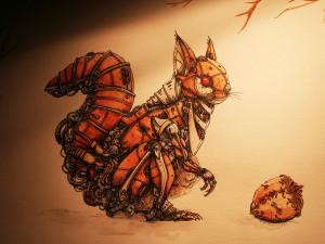 Mechanimalz - Squirrel watercolor & ink